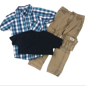 Boys Size 4 Outfit - Pants, Button-up, T-shirt